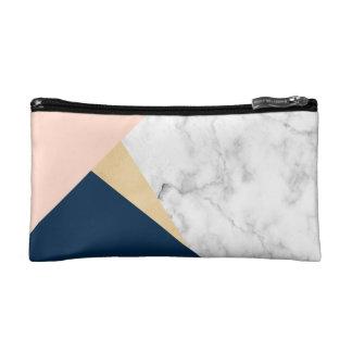 elegant white marble gold peach blue color block makeup bag