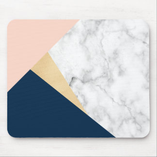 elegant white marble gold peach blue color block mouse pad