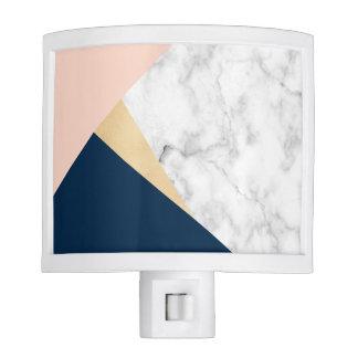 elegant white marble gold peach blue color block nite lights