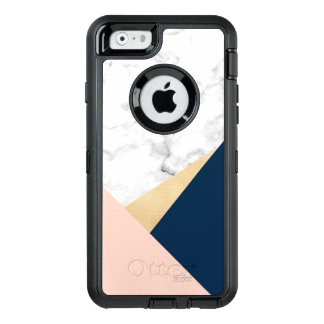 elegant white marble gold peach blue color block OtterBox defender iPhone case