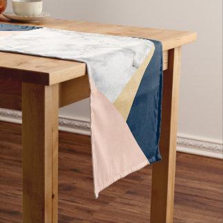 elegant white marble gold peach blue color block short table runner
