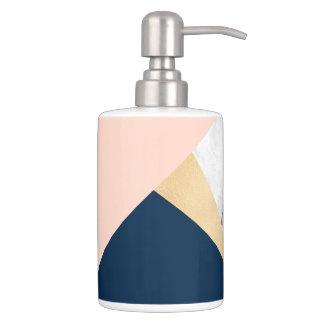 elegant white marble gold peach blue color block soap dispenser and toothbrush holder