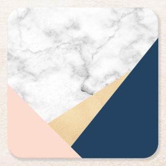 elegant white marble gold peach blue color block square paper coaster