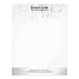 Elegant White Marble Modern Silver Border Letterhead