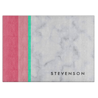 elegant white marble pastel pink melon mint boards