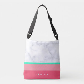 elegant white marble pastel pink melon mint crossbody bag