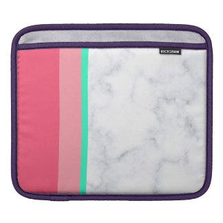 elegant white marble pastel pink melon mint iPad sleeve