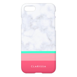elegant white marble pastel pink melon mint iPhone 7 case