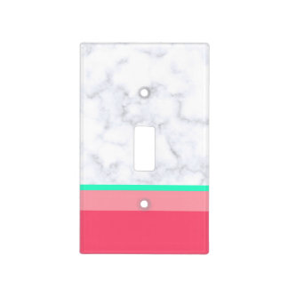 elegant white marble pastel pink melon mint light switch cover