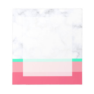 elegant white marble pastel pink melon mint notepad