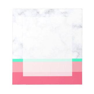 elegant white marble pastel pink melon mint notepad
