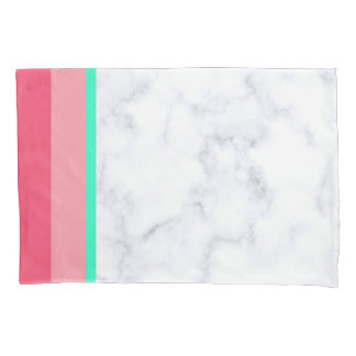 elegant white marble pastel pink melon mint pillowcase