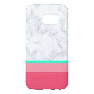 elegant white marble pastel pink melon mint samsung galaxy s7 case