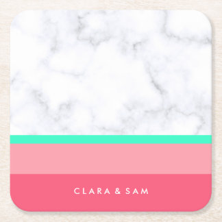 elegant white marble pastel pink melon mint square paper coaster