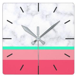 elegant white marble pastel pink melon mint square wall clock