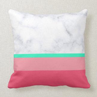 elegant white marble pastel pink melon mint throw pillow