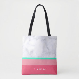 elegant white marble pastel pink melon mint tote bag