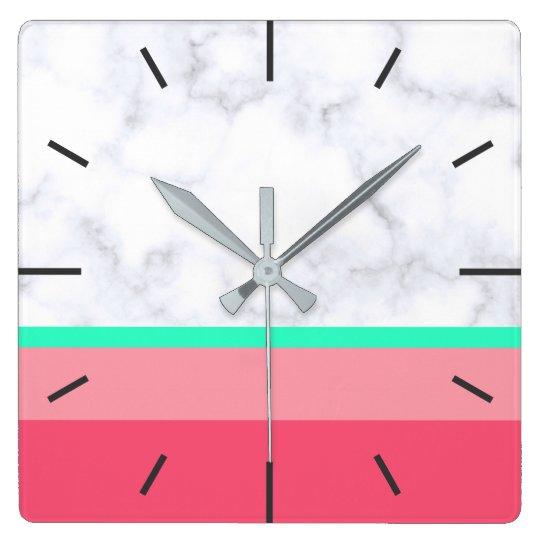 elegant white marble pastel pink melon mint wallclock