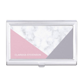 elegant white marble pastel pink purple geometric business card holder