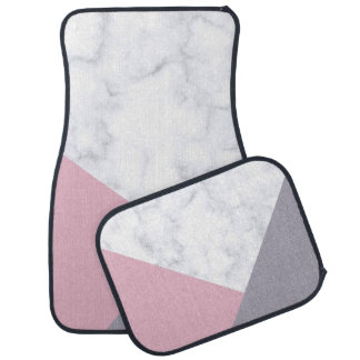 elegant white marble pastel pink purple geometric car mat