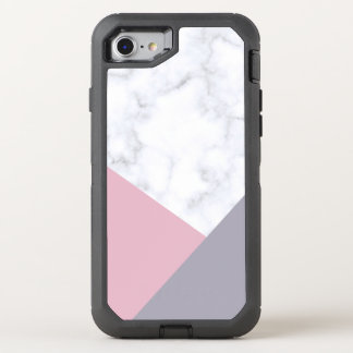 elegant white marble pastel pink purple geometric OtterBox defender iPhone 8/7 case