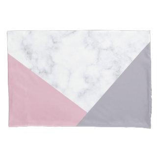 elegant white marble pastel pink purple geometric pillowcase