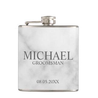 Elegant White Marble Personalized Groomsmen Hip Flask