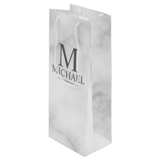 Elegant White Marble Personalized Groomsmen Wine Gift Bag