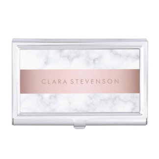 elegant white marble rose gold faux strip business card holder