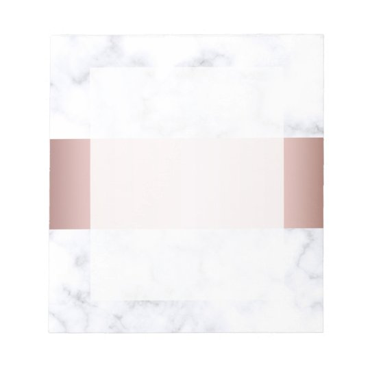 elegant white marble rose gold faux strip notepad
