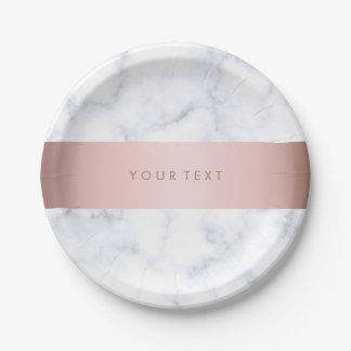 elegant white marble rose gold faux strip paper plate