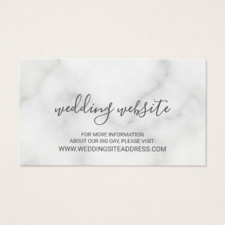 Elegant White Marble Wedding Website Business Card