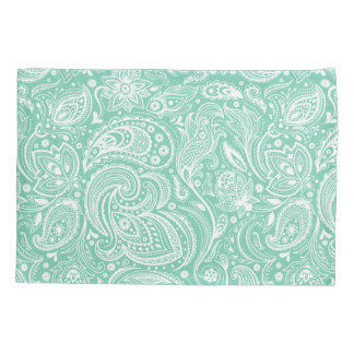 Elegant White & Mint Floral Paisley Pattern Pillowcase