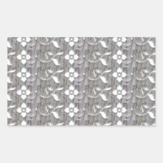 Elegant WHITE n SILVER Flowers NVN167 NavinJOSHI Rectangle Sticker