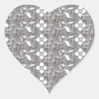 Elegant WHITE n SILVER Flowers NVN167 NavinJOSHI Heart Stickers
