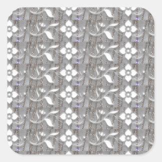 Elegant WHITE n SILVER Flowers NVN167 NavinJOSHI Square Sticker