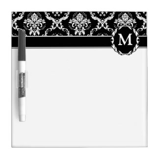 Elegant White on Black Damask Dry Erase Board