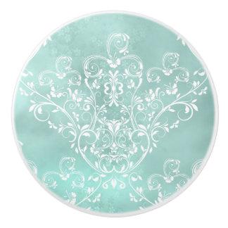 Elegant White on Teal Damask Ceramic Knob