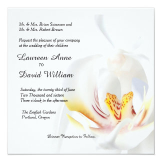 Elegant White Orchid Custom Wedding Invitation