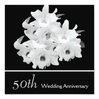 Elegant White Orchids 50th Anniversary Invitation