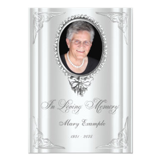 Elegant White Order of Service Mourning Cards