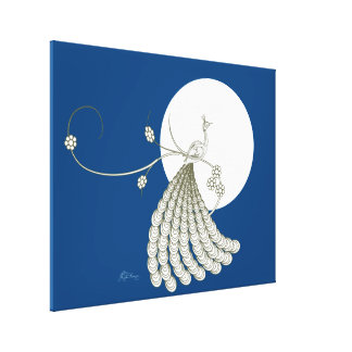 Elegant White Peacock with Moon Stretched Canvas Prints