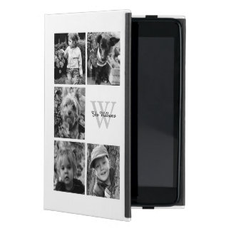 Elegant White Photo Collage and Monogram Cover For iPad Mini