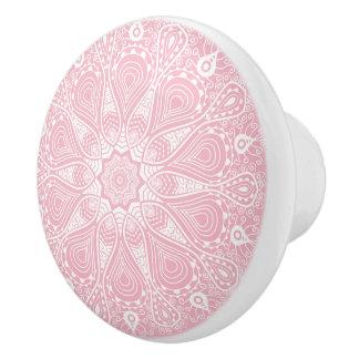 Elegant White & Pink Floral Mandala Ceramic Knob
