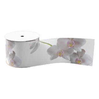 Elegant White Pink Orchids on Any Color Grosgrain Ribbon
