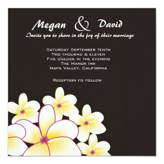 Elegant White Plumeria Wedding Invitation
