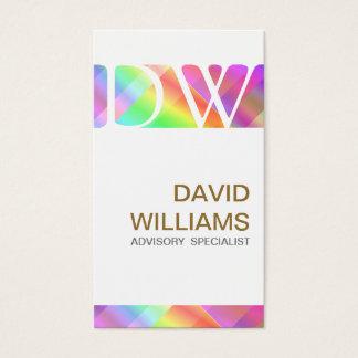 ELEGANT WHITE PROFESSIONAL IRIDESCENT HOLOGRAM BUSINESS CARD