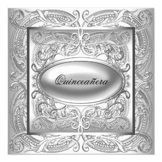 """Elegant White Quinceanera 5.25"""" Square Invitation Card"""