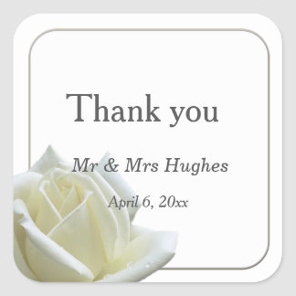 Elegant white rose and silver thank you square sticker