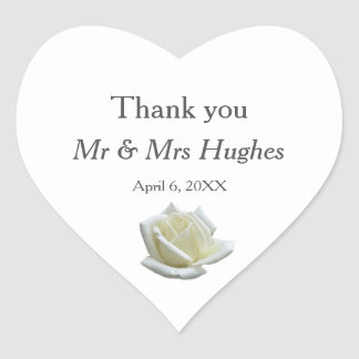 Elegant white rose and silver wedding thank you heart sticker